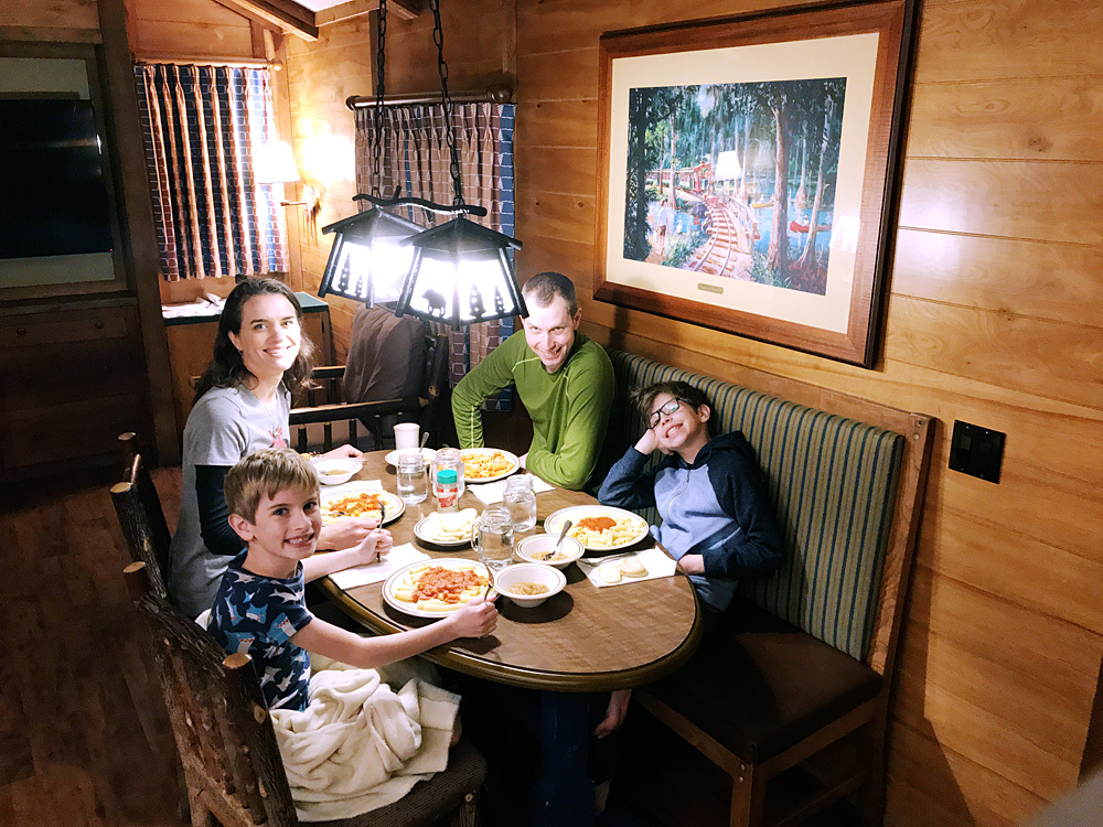 Disney Fort Wilderness cabin dinner