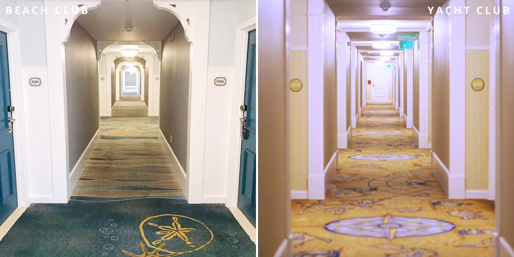 Disney's Beach and Yacht Club hallway