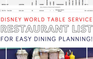 Disney World Restaurant List