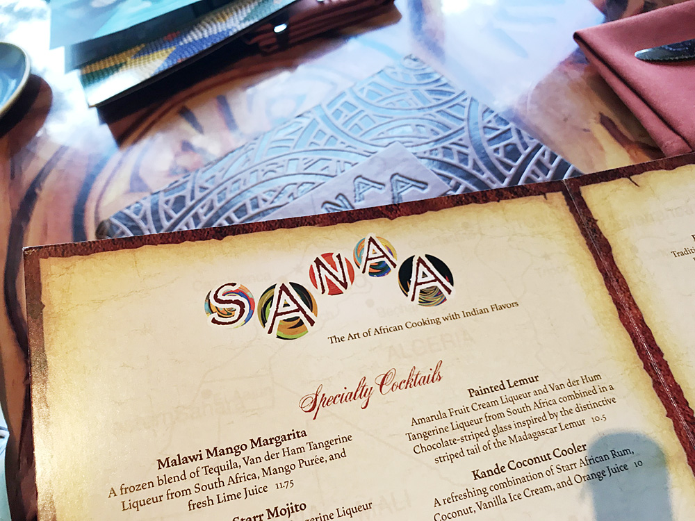 Disney's Animal Kingdom Lodge Sanaa menu