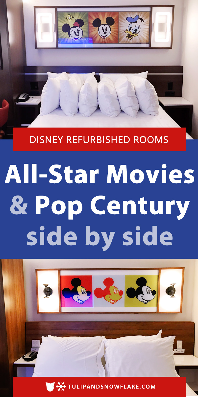 Disney's All-Star Movies and Pop Century Refurbished Rooms side by side