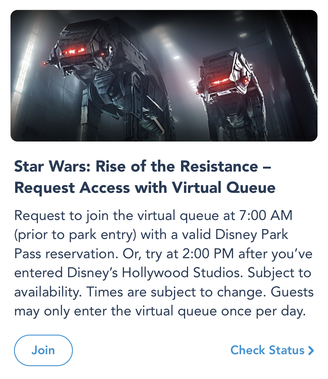 Rise of the Resistance virtual queue in the My Disney Experience app