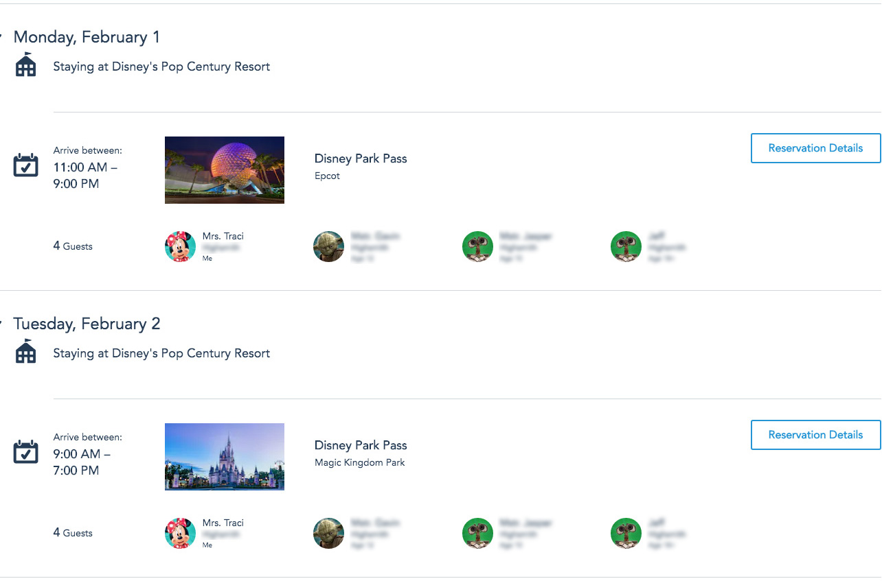 Disney Park Pass list