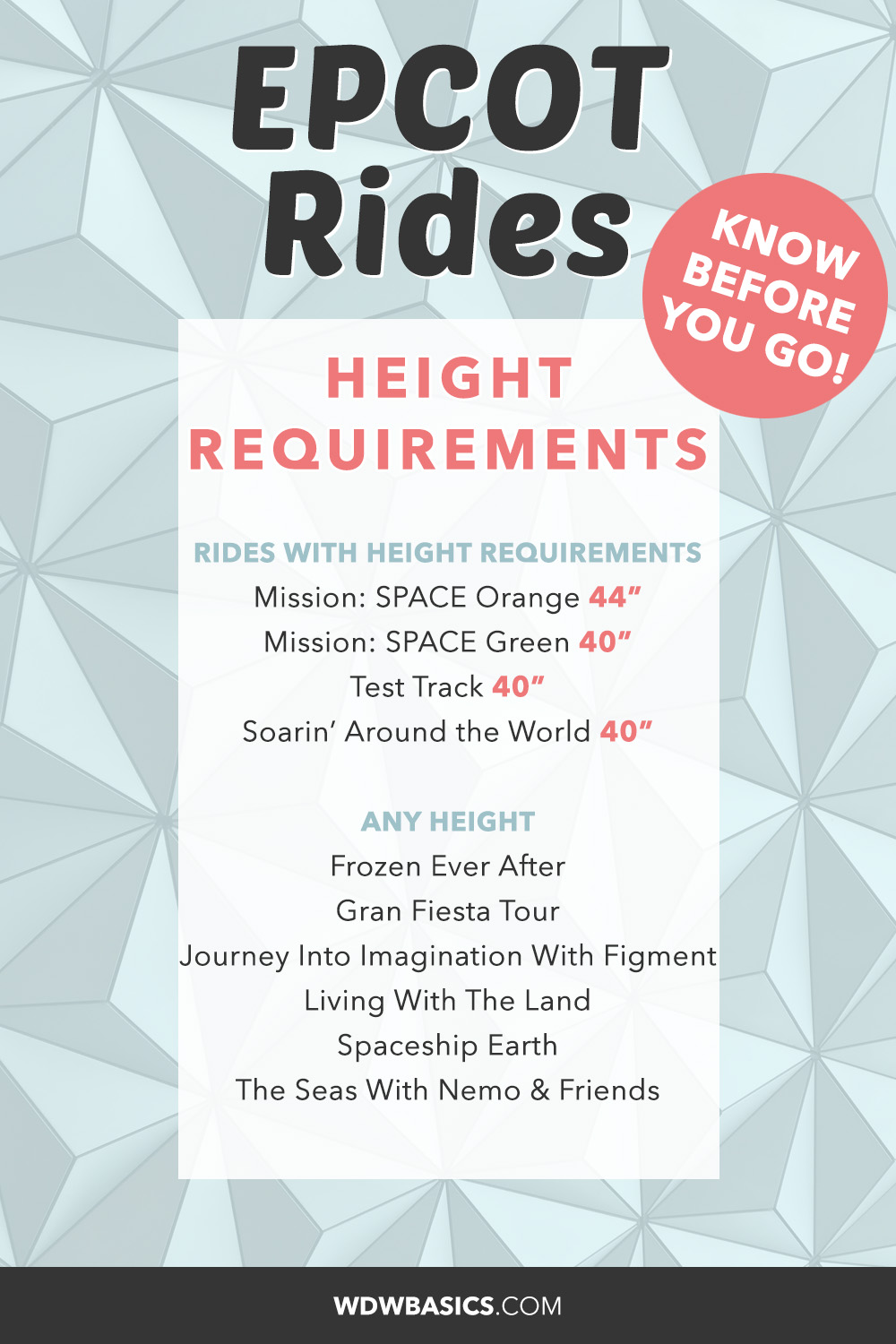 Epcot Rides height requirements