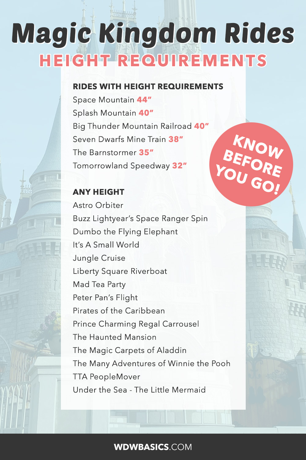 Magic Kingdom Rides height requirements