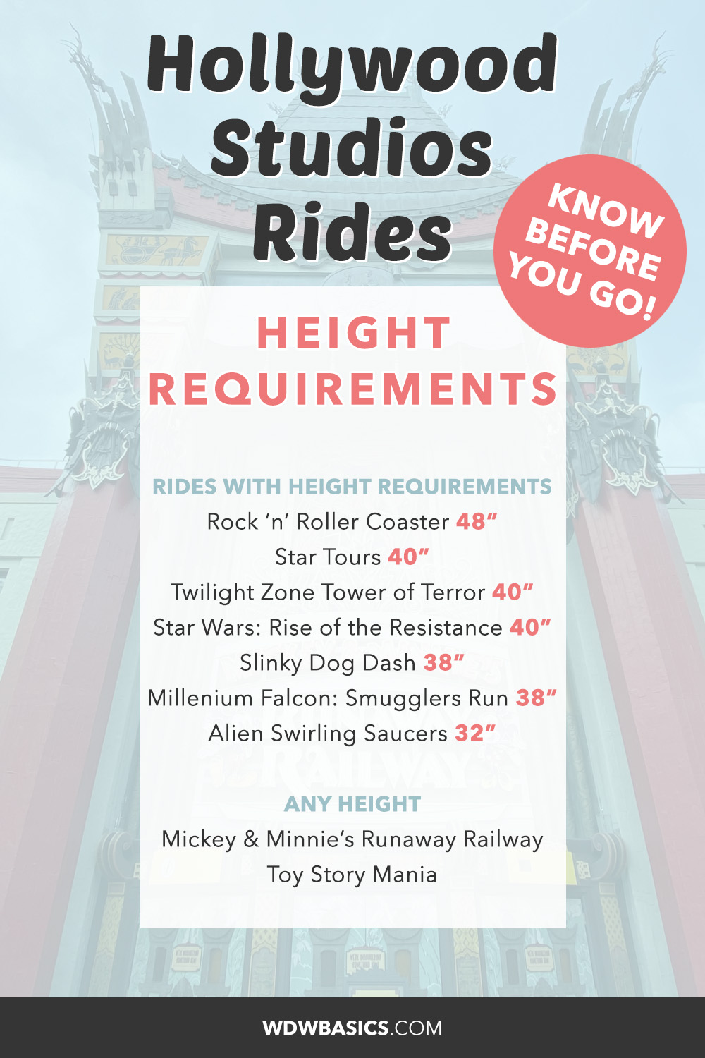 Hollywood Studios Rides height requirements